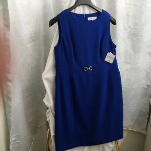 New! KASPER Buckle-Waist Cobalt Blue Dress. NWT.